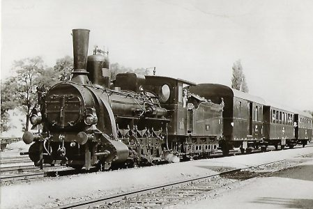Raab-Ödenburg-Ebenfurther Eisenbahn. Lokomotive Nr. 17 in Wulkaprodersdorf. Eisenbahn Bestell-Nr. 1173