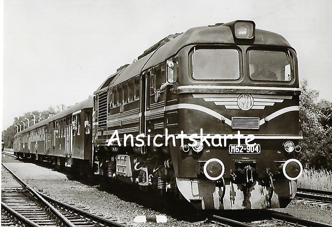 Raab-Ödenburg-Ebenfurther Eisenbahn.  Lokomotive M62-904 mit Reisezug bei Fertöboz. (1174)