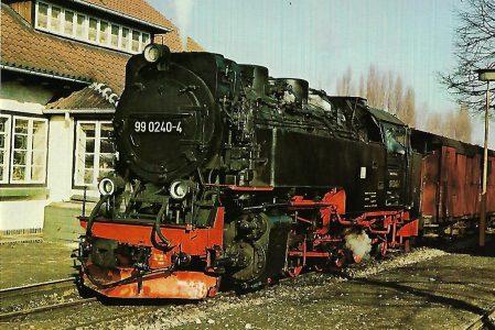 DR Schmalspurlokomotive 99 0240-4 in Wernigerode-Westerntor. Eisenbahn Bestell-Nr. 1281
