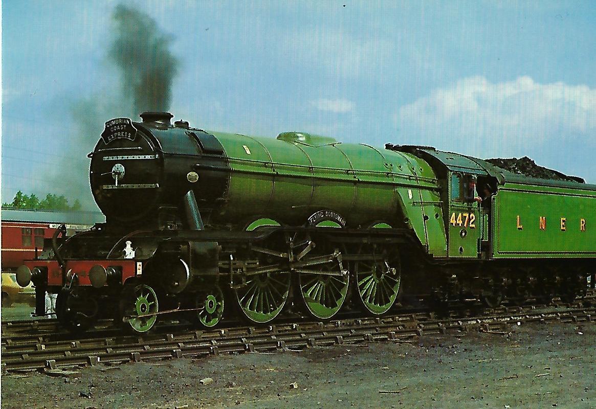 """British Railways Schnellzug-Lokomotive Nr. 4472 """"Flying Scotsman"""" in Rainhill. Liverpool and Manchester Railway. Eisenbahn Bestell-Nr. 1283"""