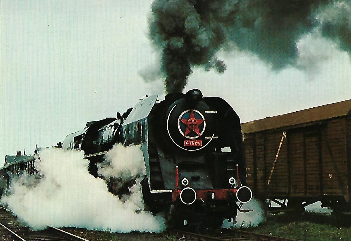 ČSD Dampflokomotive 475.179 im Bahnhof Frýdlant v Čechách. Eisenbahn Bestell-Nr. 1291
