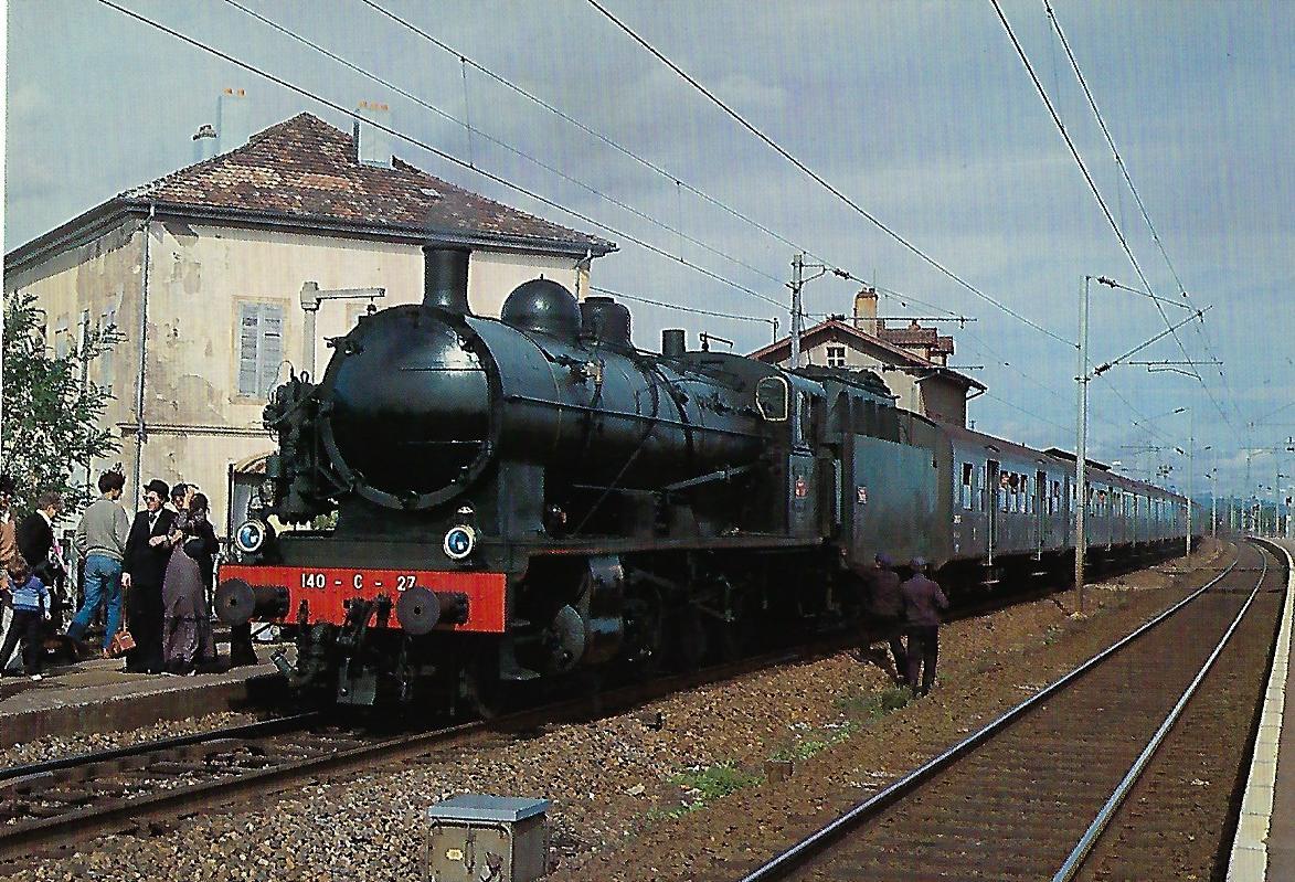 SNCF Dampflokomotive 140 C 27 (ex C.F.R.A.) bei Bourzwiller. (10309)