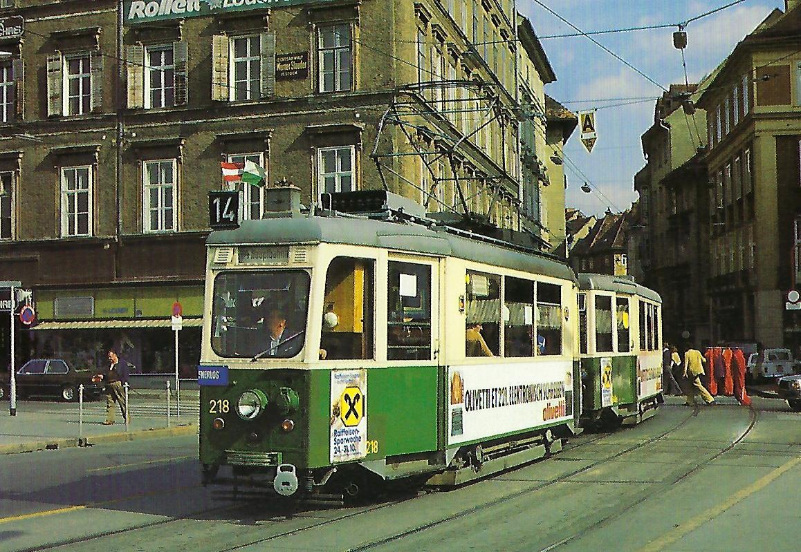 Grazer Verkehrsbetriebe (GVB), Straßenbahntriebwagen 218. (90655)