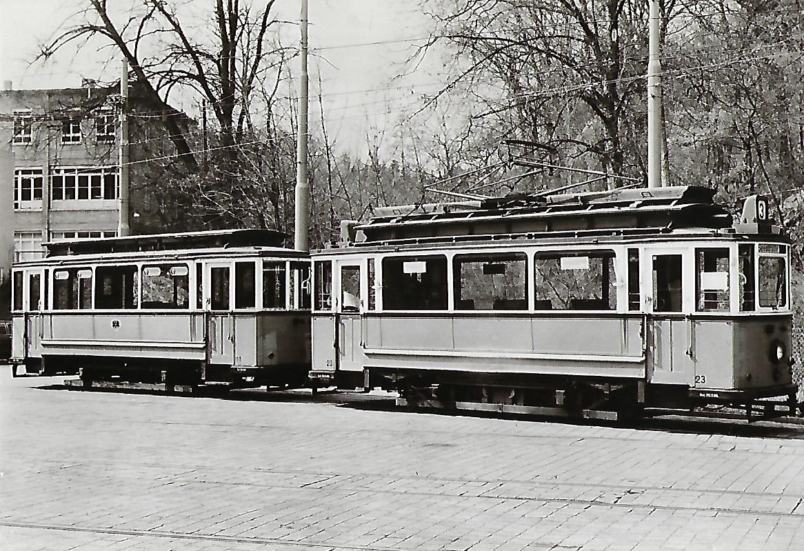 Straßenbahn Reutlingen. Tw Nr. 23 mit Beiwagen Nr. 11. (91198)