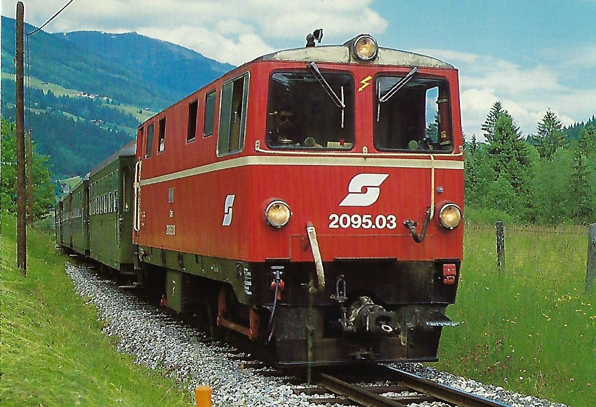 ÖBB, diesel-hydraulische Schmalspurlokomotive 2095.03 bei Krimml / Pinzgauer Lokalbahn. (10441)
