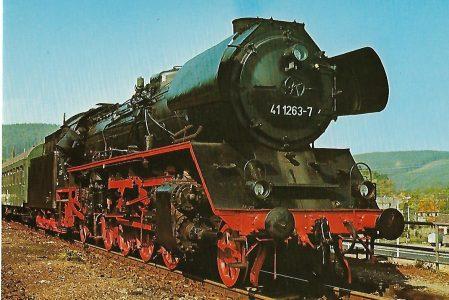 DR Güterzug-Lokomotive 41 1263-7 in Quittelsdorf/Thüringen. Eisenbahn Bestell-Nr. 1256