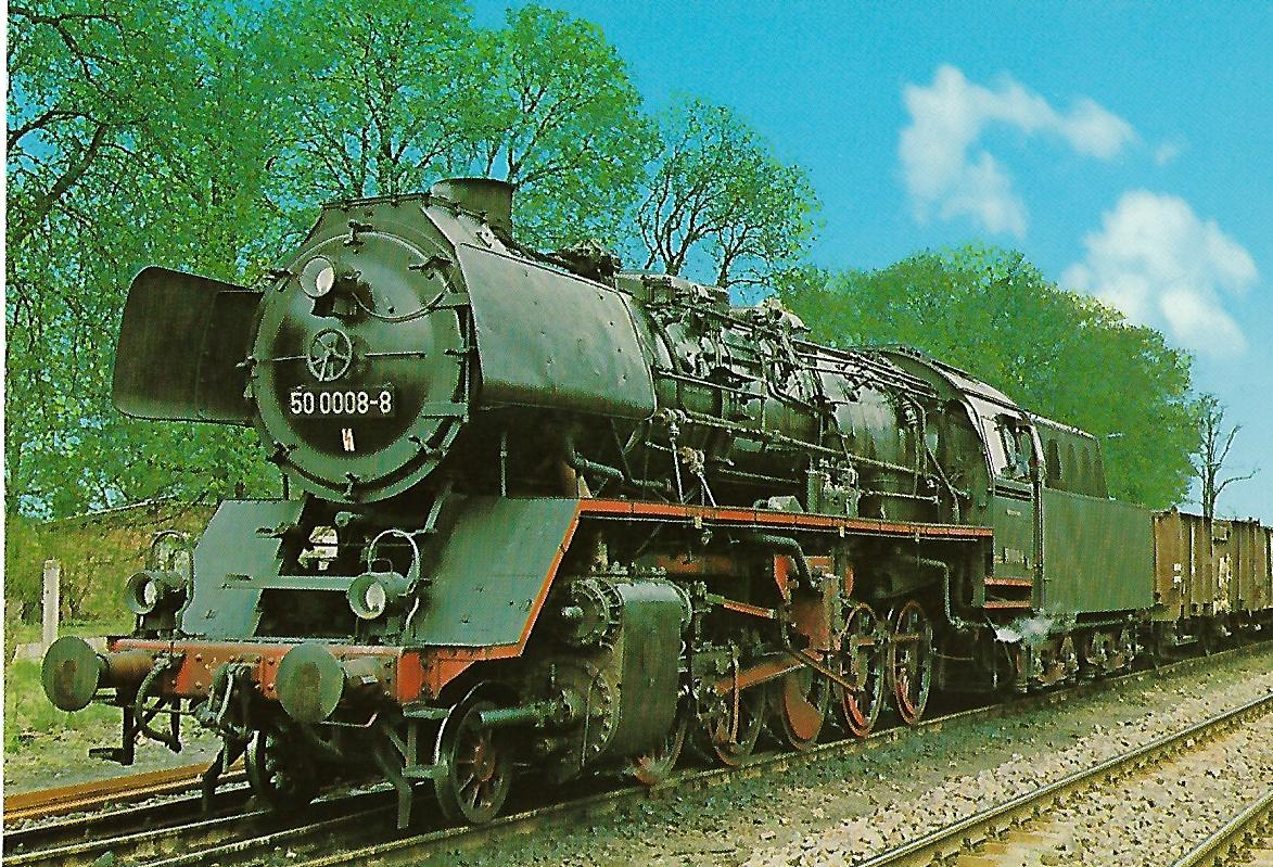 DR Güterzug-Lokomotive 50 0008-8 in Karstädt. Eisenbahn Bestell-Nr. 1257