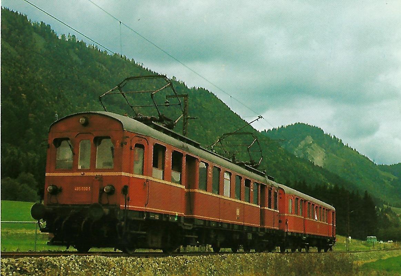 DB Elektr. Triebwagen 485 030-1 vor Oberammergau. Eisenbahn Bestell-Nr. 1274