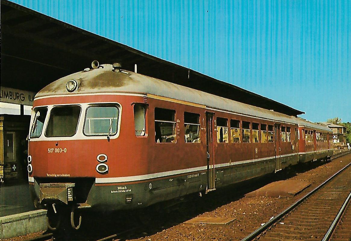 DB Akkumulator-Triebwagen 517 003-0 Bahnhof Limburg (Lahn). Eisenbahn Bestell-Nr. 1275