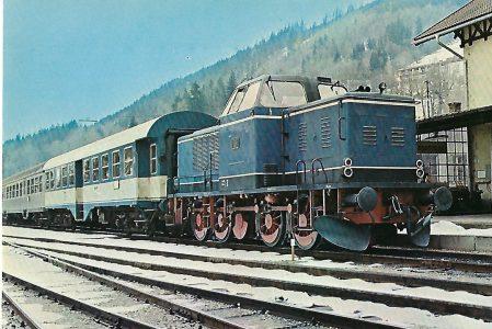 V 65-11 der Tegernseebahn im Bhf. Tegernsee am 18.4.1977. Eisenbahn Bestell-Nr. 10202