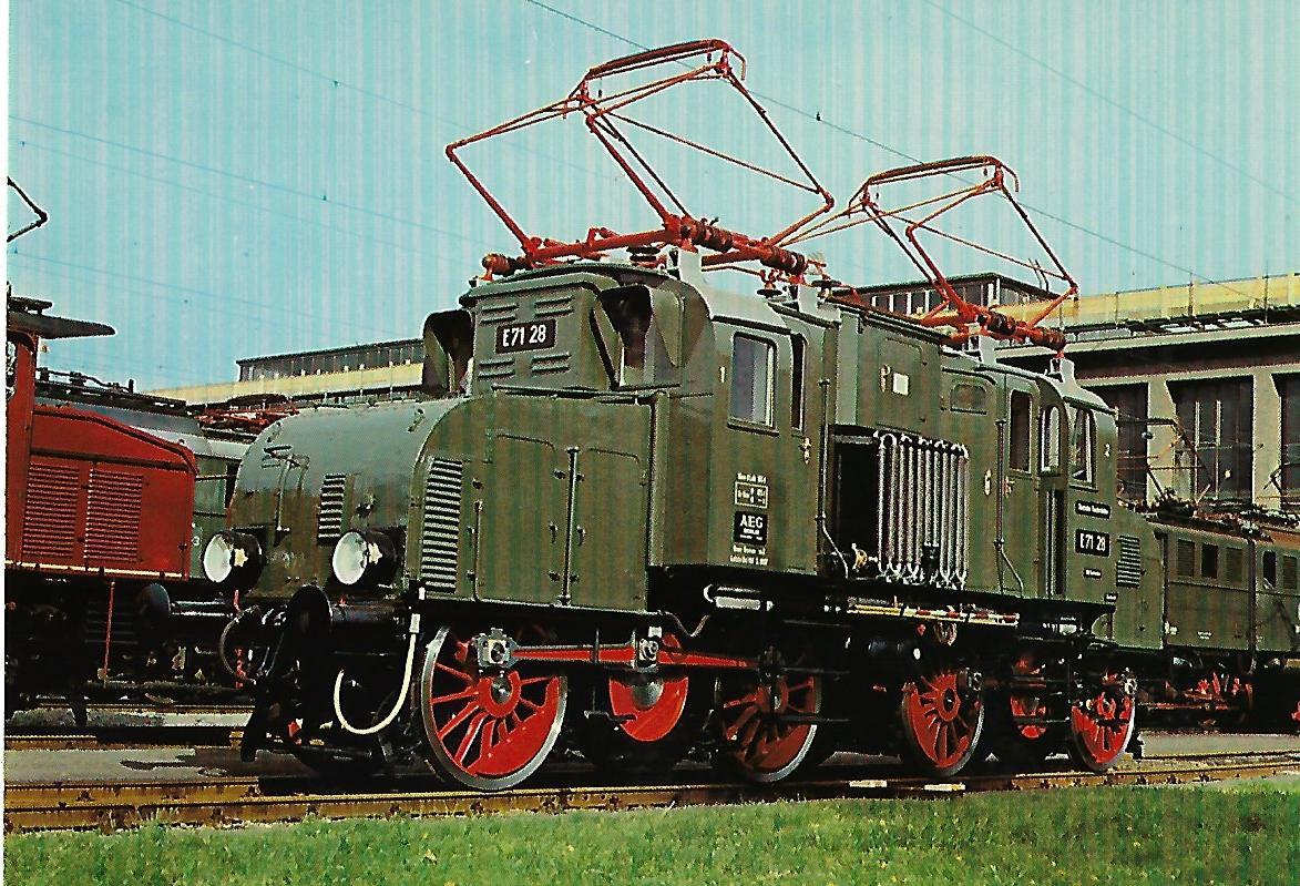 E 71 28 (ex preuß. EG 528) AEG 1921 Elektrische Güterzuglokomotiveim Aw München-Freimann. Eisenbahn Bestell-Nr. 10258