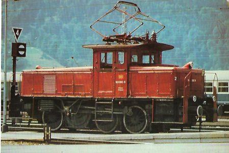 Elektr. Rangierlokomotive 163 002-9 am 31.7.1978 in Bf. Garmisch-Partenkirchen. Eisenbahn Bestell-Nr. 10284