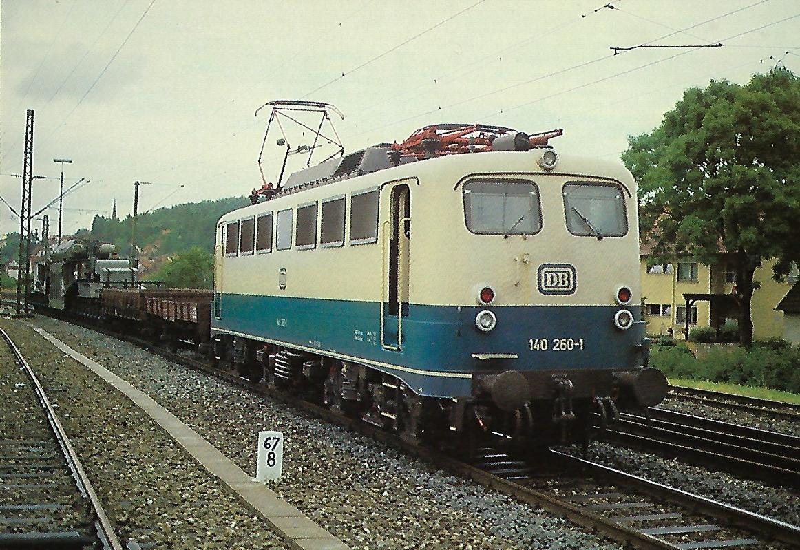 140 260-1 DB in Amstetten / Geislinger Steige im Juli 1981. Eisenbahn Bestell-Nr. 10311