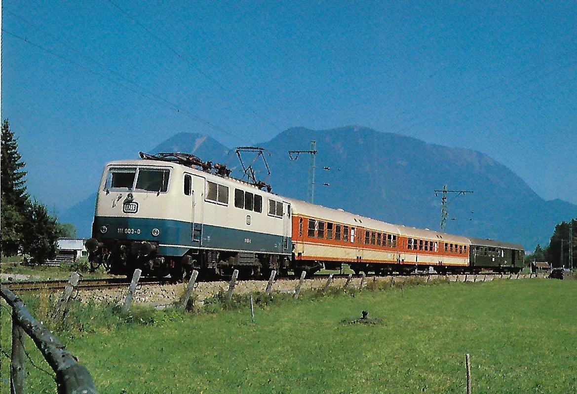111 003-0 DB elektrische Schnellzuglokomotive bei Garmisch-Partenkirchen. Eisenbahn Bestell-Nr. 10313