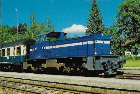 Tegernseebahn-AG, Diesellokomotive Nr. 14 im Bahnhof Schaftlach. Eisenbahn Bestell-Nr. 10374