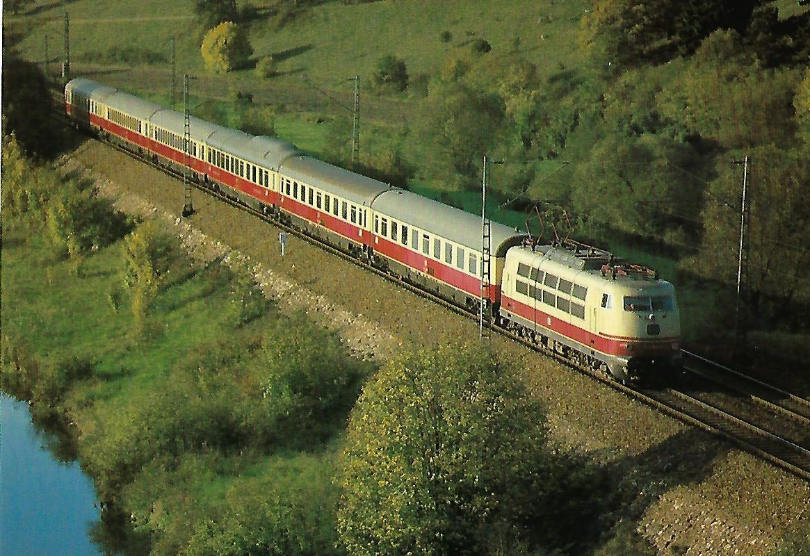 "DB, IC ""Rheinpfeil"" bei Dollnstein. Eisenbahn Bestell-Nr. 10389"