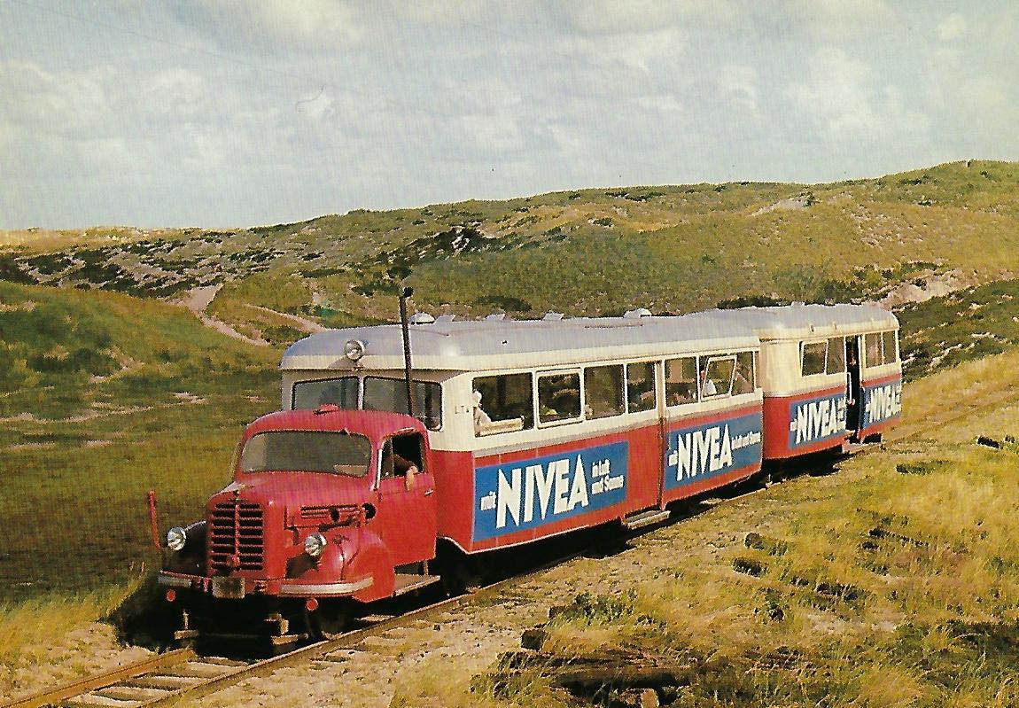 Sylter Inselbahn, Leichtriebwagen LT 4 bei Kampen im August 1969. Eisenbahn Bestell-Nr. 10393