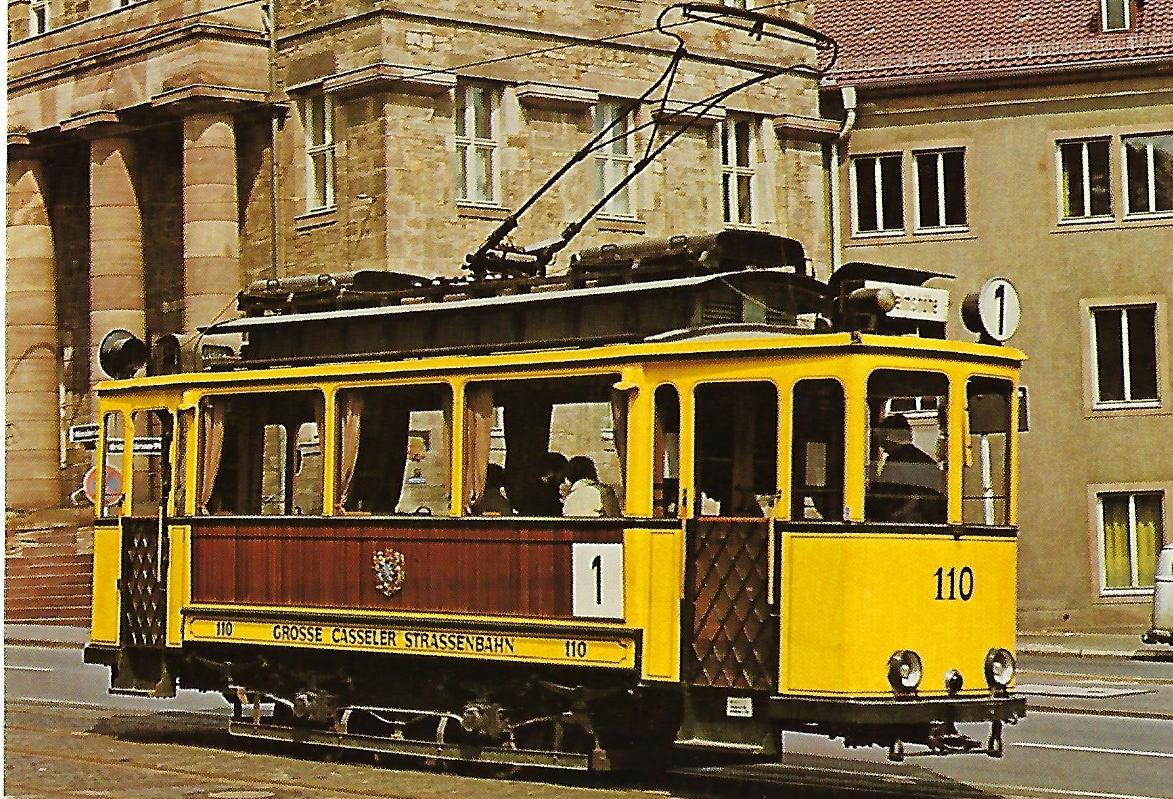 Kasseler Verkehrs-AG, Museumsfahrzeug Tw 110 in Kassel. Eisenbahn Straßenbahn Bestell-Nr. 1267