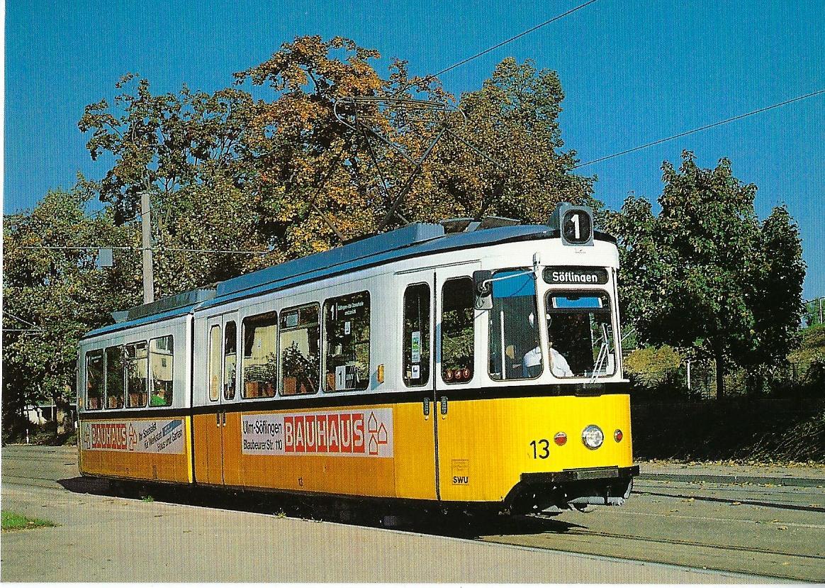 Stadtwerke Ulm/Neu-Ulm GmbH GT 4 Nr. 13. Straßenbahn Bestell-Nr. 90649