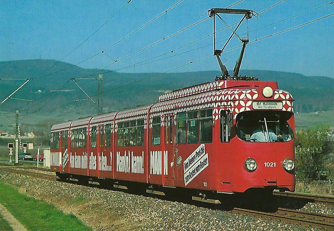 Rhein-Haardt-Bahn, elektr. Gelenk-Tw Nr. 1021 am Feuerberg. Straßenbahn Bestell-Nr. 90658