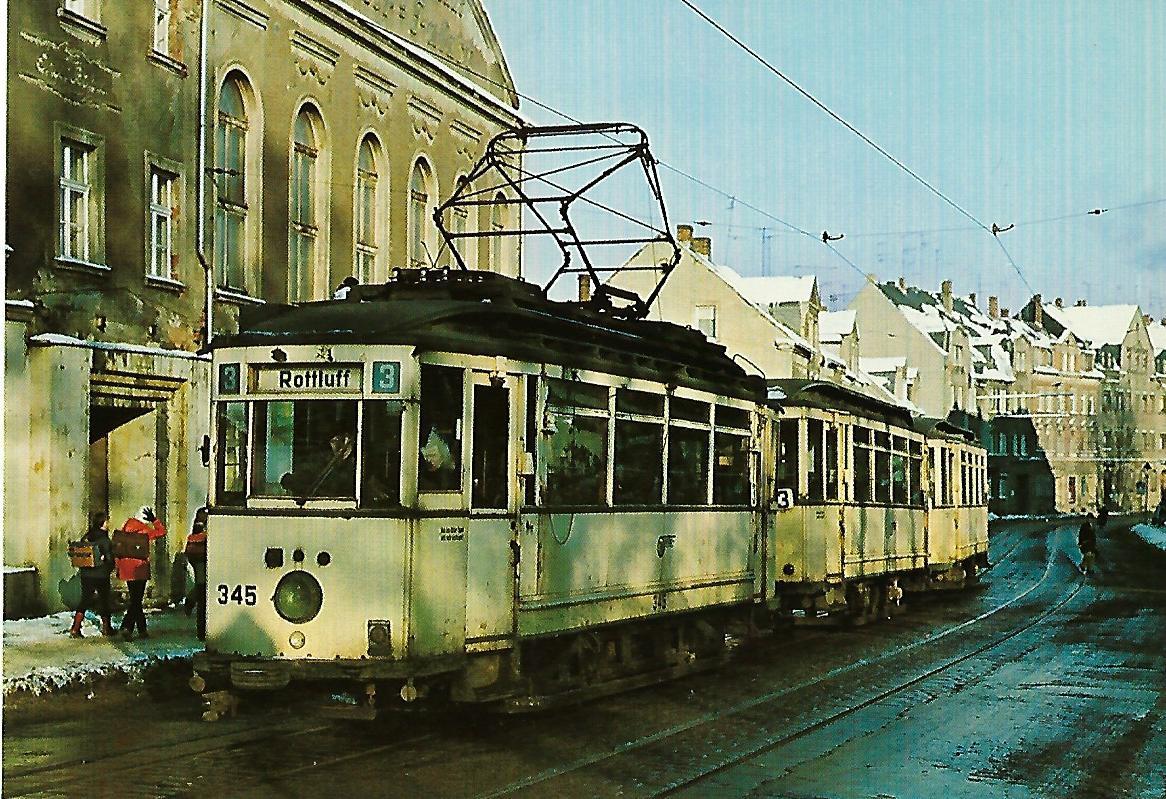 Straßenbahn Chemnitz. Tw 345 als Linie 3 nach Rottluff. Eisenbahn Bestell-Nr. 91293