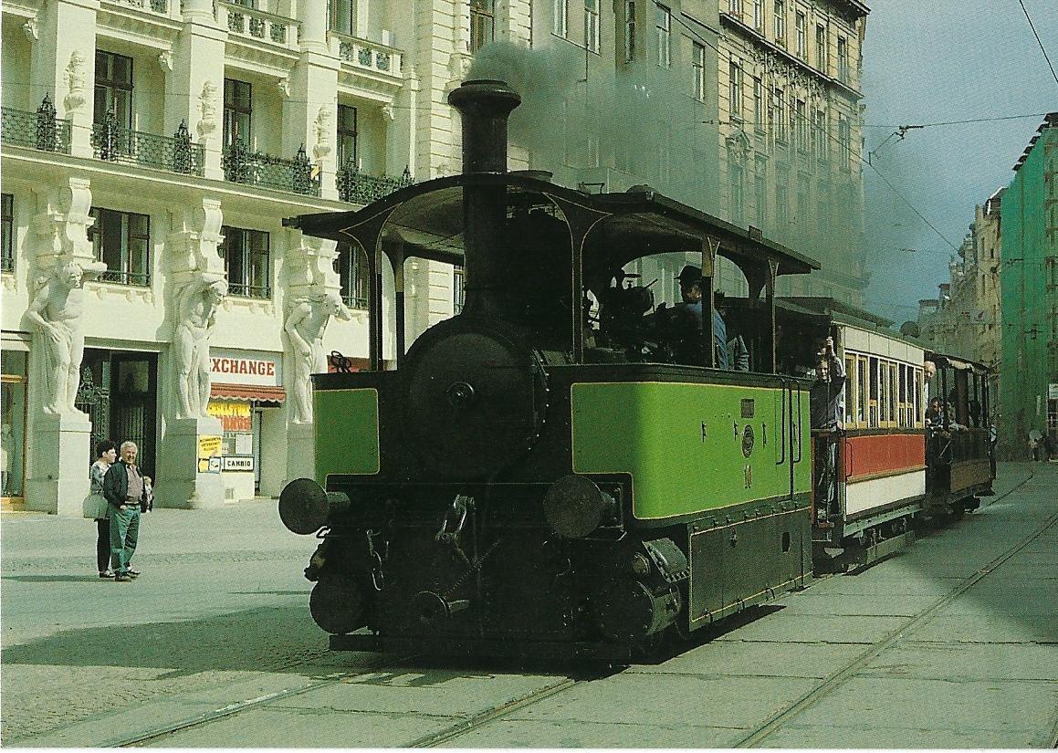 Technisches Museum Brno, Dampfstraßenbahnlokomotive CAROLINE. Straßenbahn Bestell-Nr. 95012