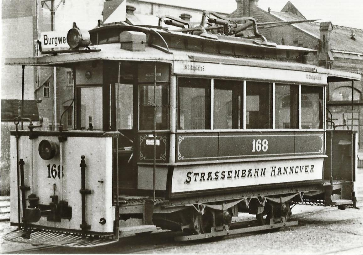 Straßenbahn Hannover Tw 168, Bj. 1893. Straßenbahn Bestell-Nr. 96043