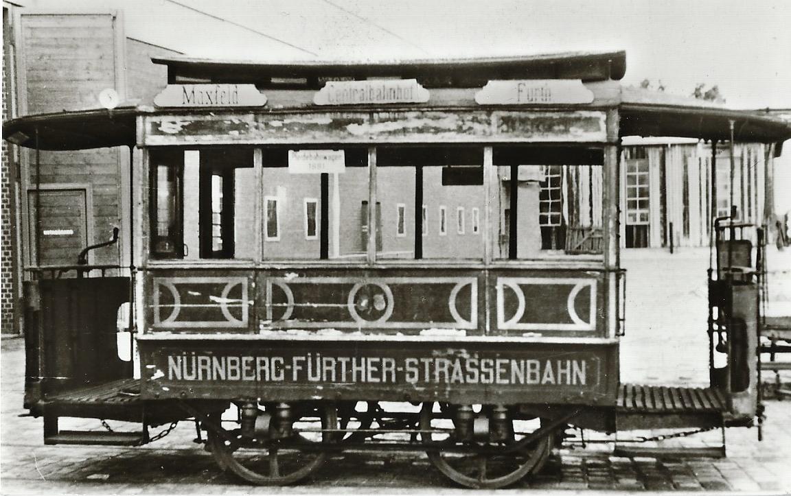 Nürnberg-Fürther Straßenbahn. Pferdewagen 1, Bj. 1881. Straßenbahn Bestell-Nr. 96048