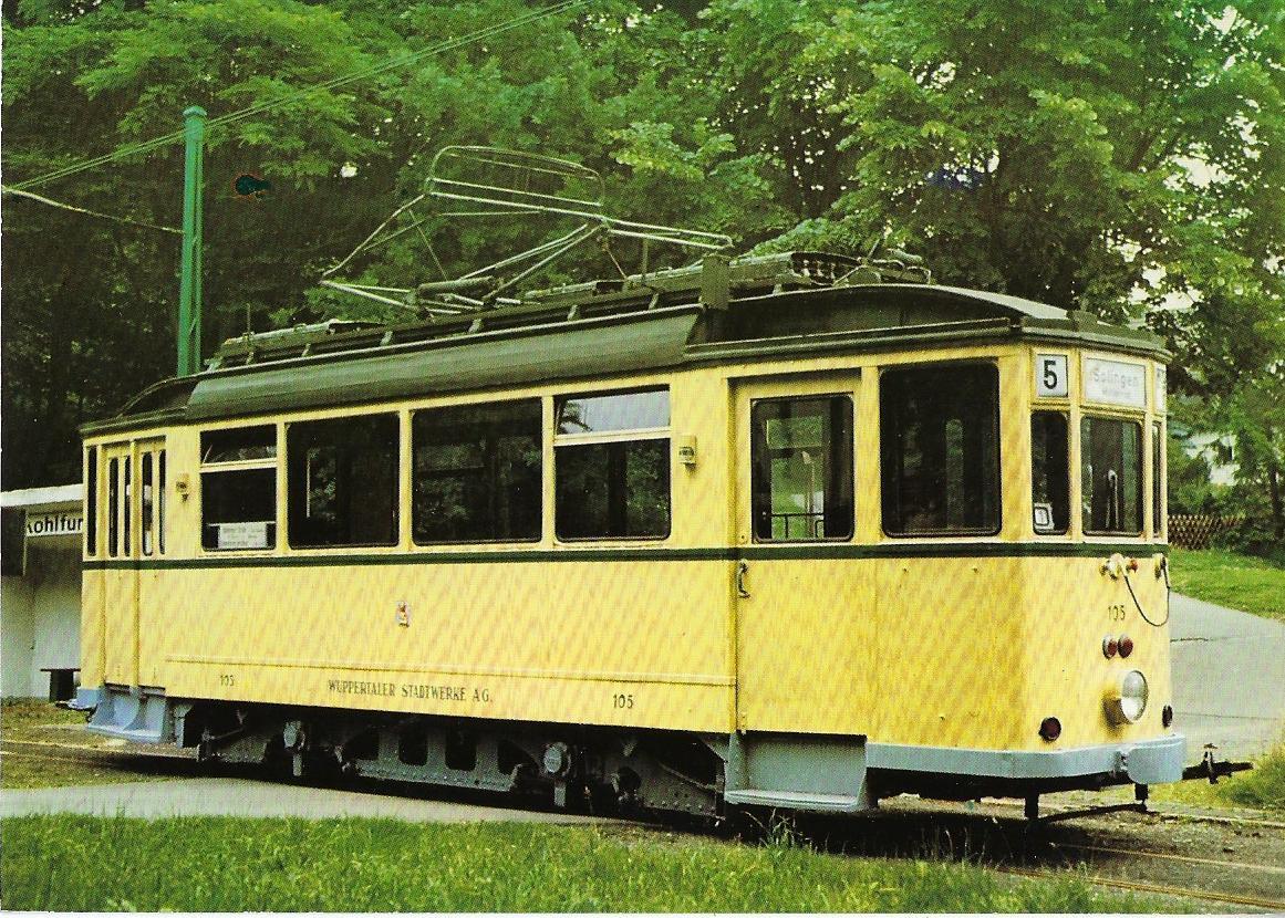 Wuppertal Kohlfurth-Cronenberg Triebwagen 105. Straßenbahn Bestell-Nr. 96053