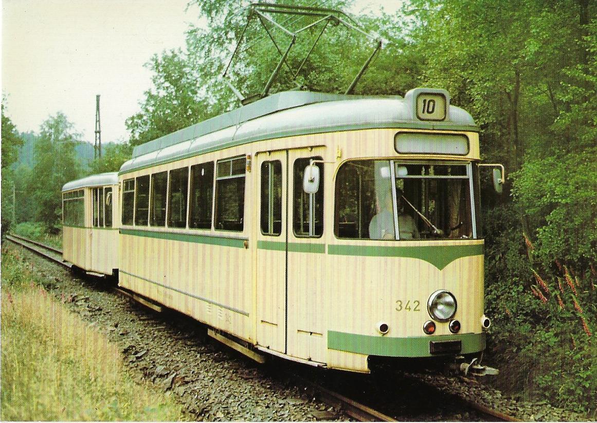 Wuppertal Kohlfurth-Cronenberg Triebwagen 342. Straßenbahn Bestell-Nr. 96055