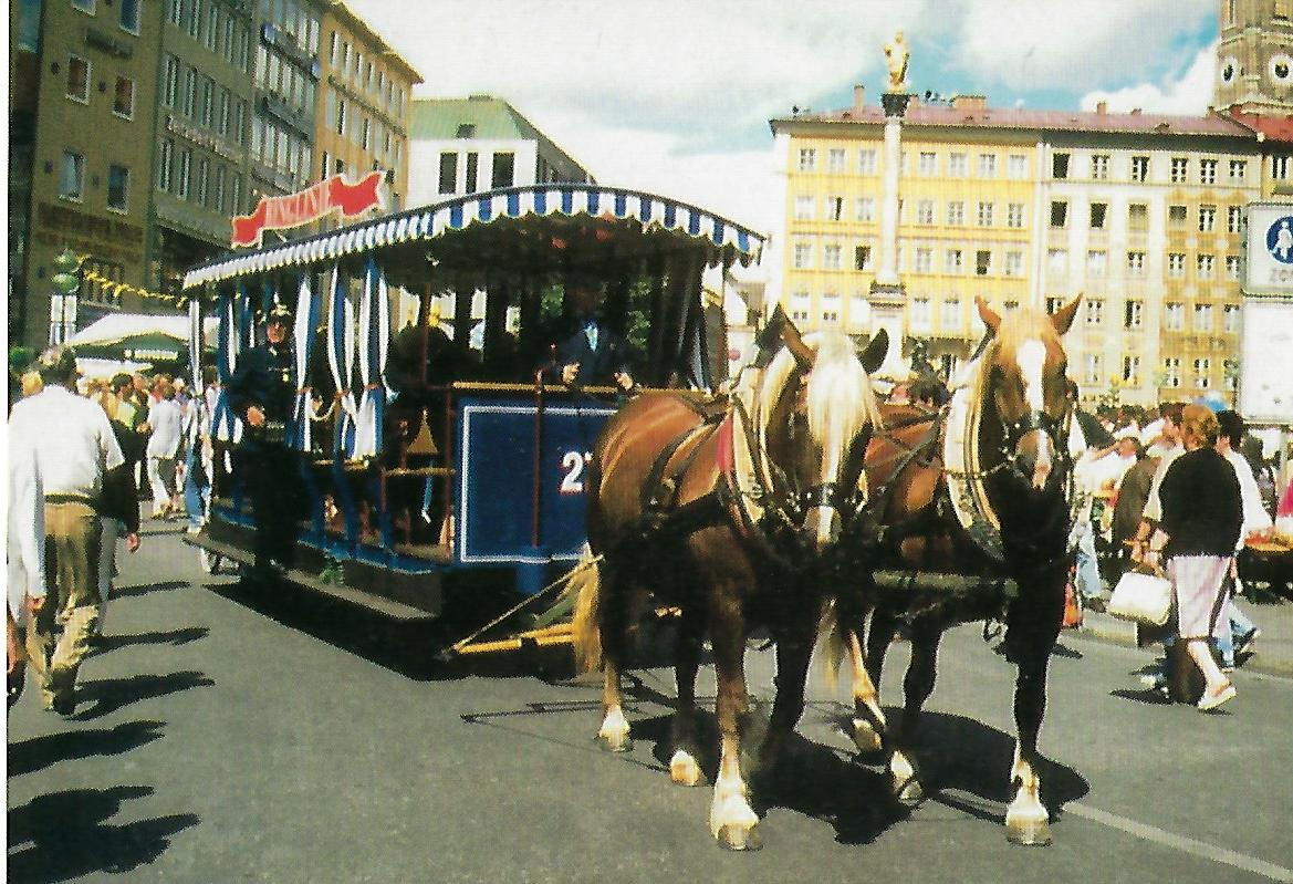 Pferdebahnwagen 273 am Marienplatz. Straßenbahn Bestell-Nr. 99108