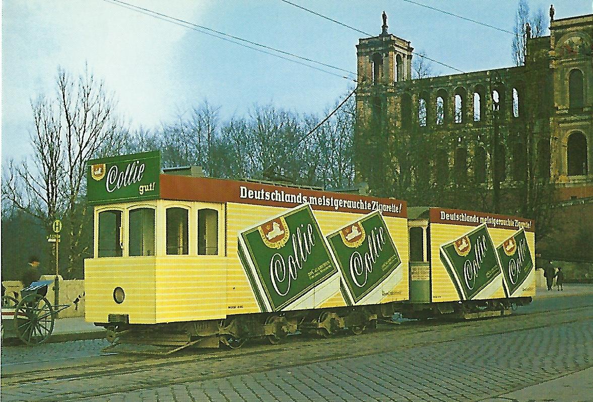 Reklamezug der Münchner Tram 1949 auf der Maximiliansbrücke. Straßenbahn Bestell-Nr. 99510