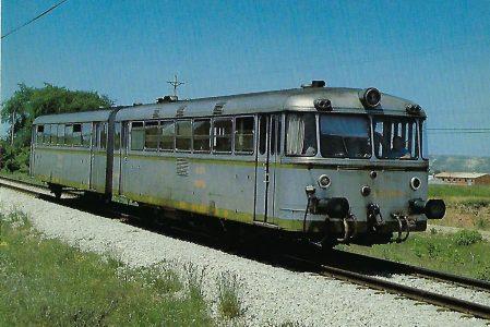 RENFE, Schienenbus Serie 591 bei Burgos, 1976. Eisenbahn Bestell-Nr. 10417