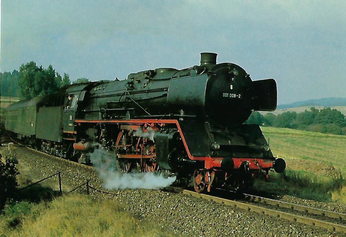 DB, Schnellzuglokomotive 001 008-2 bei Marktschorgast, 1970. Eisenbahn Bestell-Nr. 10421