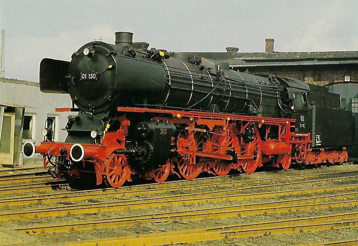 DB, Schnellzug-Dampflokomotive 01 150 im Bw Bielefeld, 1982. Eisenbahn Bestell-Nr. 10422