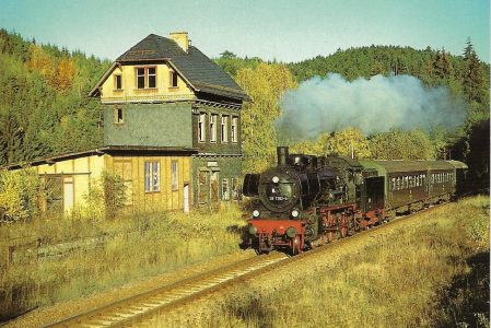 Bahnbetriebswerk Arnstadt, 38 1182 am ehem. Bahnhof Lobenstein Süd 1993. Eisenbahn Bestell-Nr. 50229