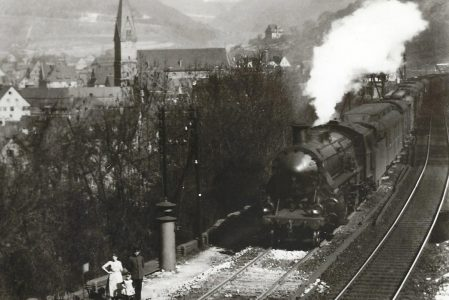 18 535 (bay. S 3/6) bei Wärterposten 78 auf der Geislinger Steige, 1930. Eisenbahn Bestell-Nr. 5185