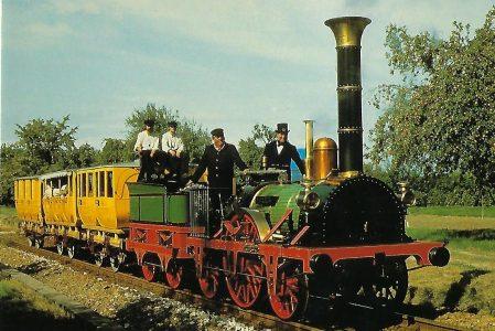 """Dampflokomotive """"Adler"""" der ersten deutschen Eisenbahn Nürnberg – Fürth 1835, (Nachbau 1935). (10434)"""