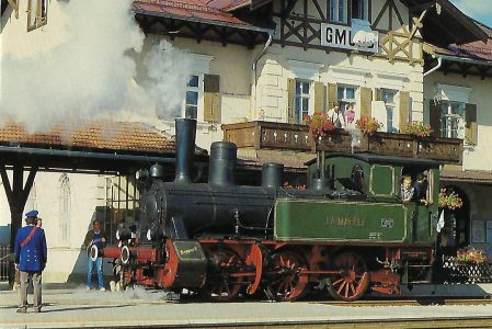 "BLV, Dampflokomotive ""J. A. MAFFEI"" im Bahnhof Gmund, 1985. (10439)"