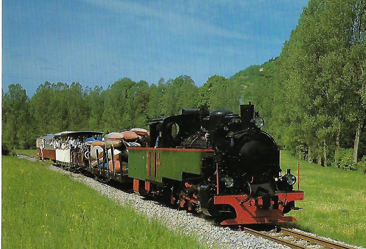 SWEG, Schmalspur-Dampflokomotive ZB 4 – AQUARIUS C am 18.5.1986 bei Schöntal. (10449)
