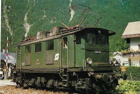 ÖBB, elektrische Mehrzwecklokomotive 1145.02 in Obertraun-Dachsteinhöhlen 1982. (10478) Eisenbahn Bestell-Nr. 10478