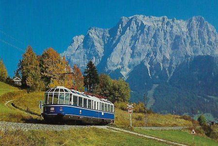 "DB, ""Gläserner Zug"" 491 001 auf der Strecke Lermoos – Ehrwald / Tirol 1986. Eisenbahn Bestell-Nr. 10488"