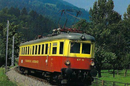 Steiermärkische Landesbahnen, elektrischer Triebwagen ET 11, Bo'2′, im September 1987 auf der Strecke Peggau – Übelbach. Eisenbahn Bestell-Nr. 10499