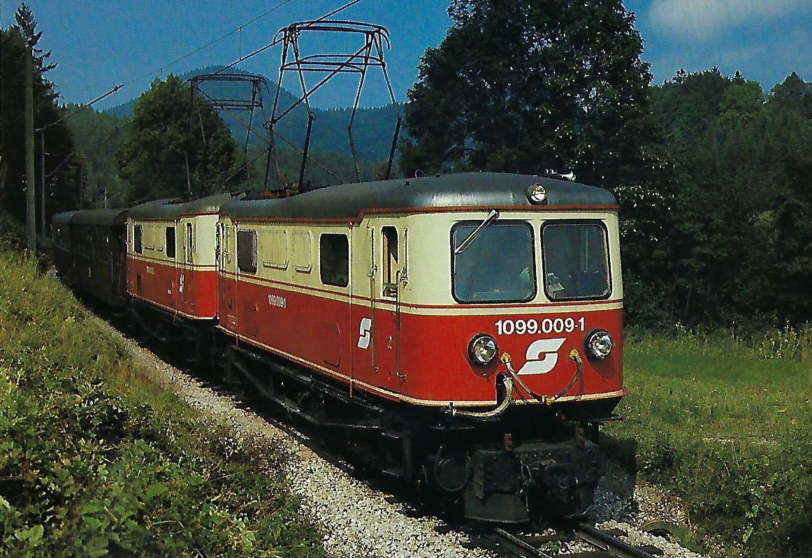 ÖBB, elektrische Schmalspurlokomotive 1099.009-1, C'C', im September 1987 bei Wienerbruck – Josefsberg. Eisenbahn Bestell-Nr. 10500
