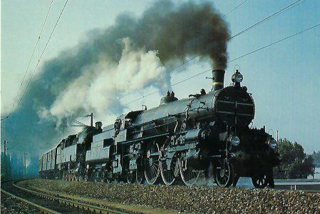ÖBB, Schnellzug-Dampflokomotive 310.23 mit Tenderlok 78.618bei Wien – Floridsdorf, 1'C2'h4v, mit Sonderzug im Juli 1987. Eisenbahn Bestell-Nr. 10503
