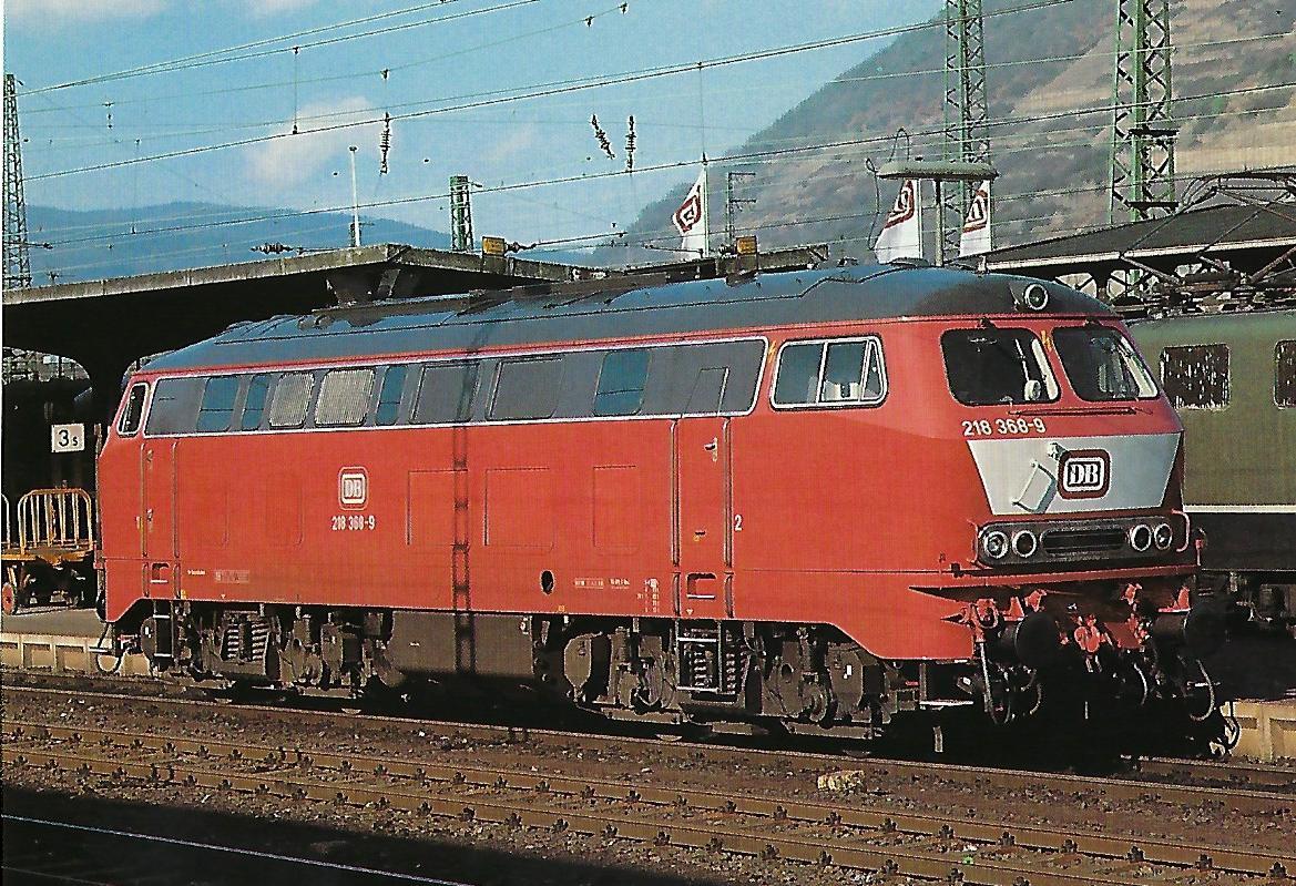 DB, dieselhydraulische Mehrzwecklokomotive 218 368-9, B'B', im Bahnhof Bingerbrück, Februar 1988. Eisenbahn Bestell-Nr. 10511