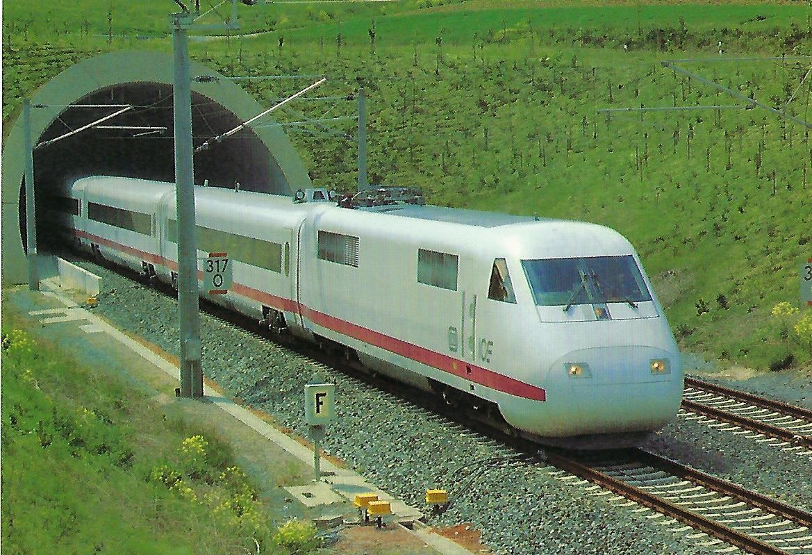 DB, ICE (Bo'Bo' Triebkopf) am 29.5. 1988 zwischen Würzburg und Gemünden. Eisenbahn Bestell-Nr. 10514