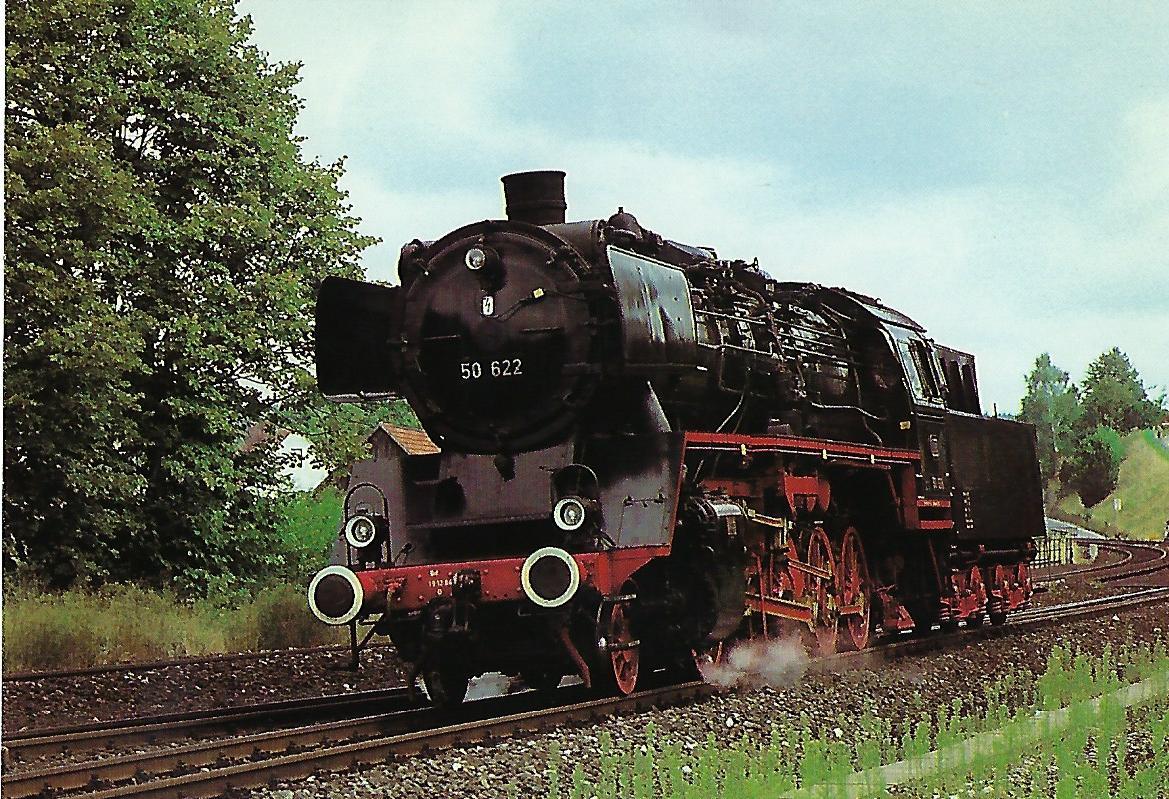 DB, Museumsdampflokomotive 50 622, 1'E h2, in Neuhaus / Pegnitz 1985. Eisenbahn Bestell-Nr. 10518