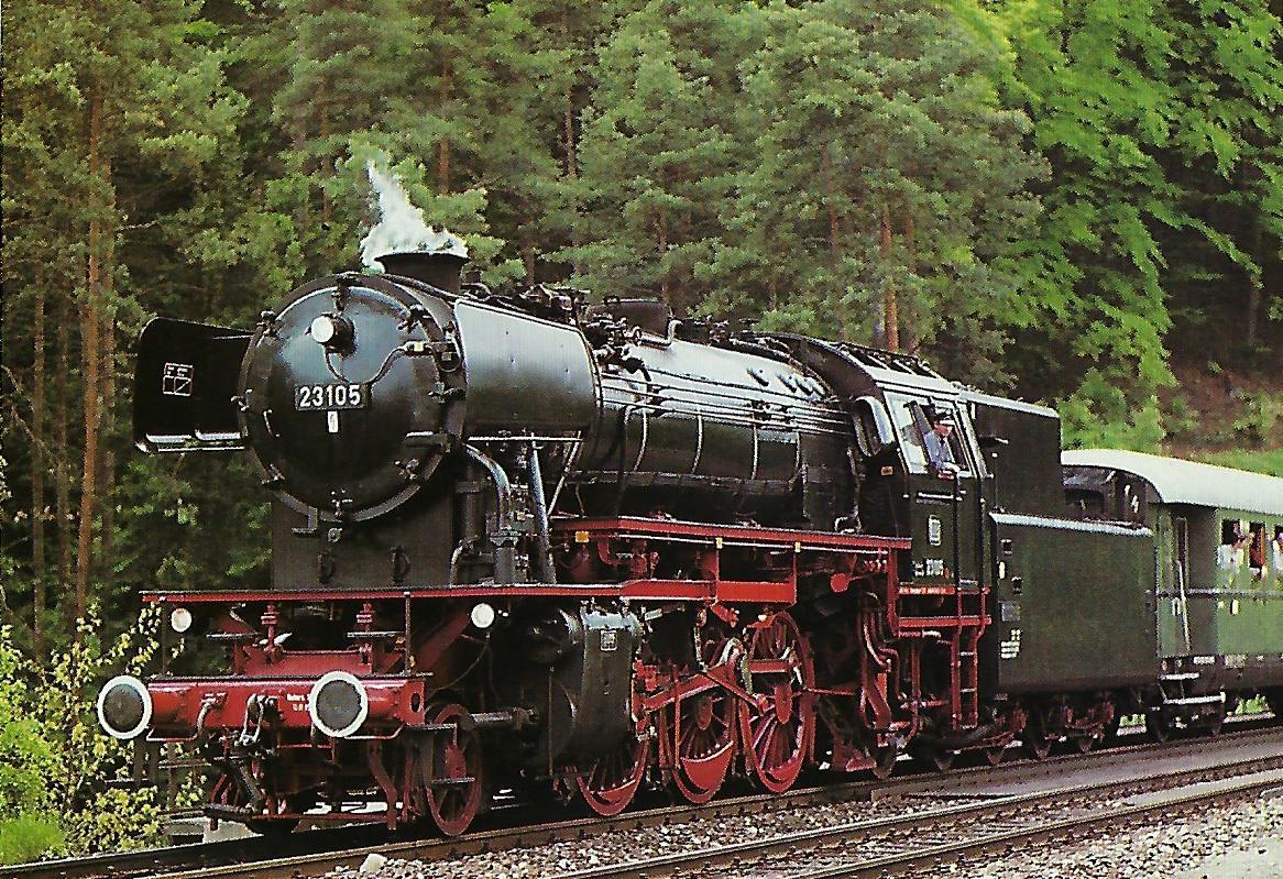 DB, Museumsdampflokomotive 23 105, 1'C1'h2, in Velden 1985. Eisenbahn Bestell-Nr. 10519