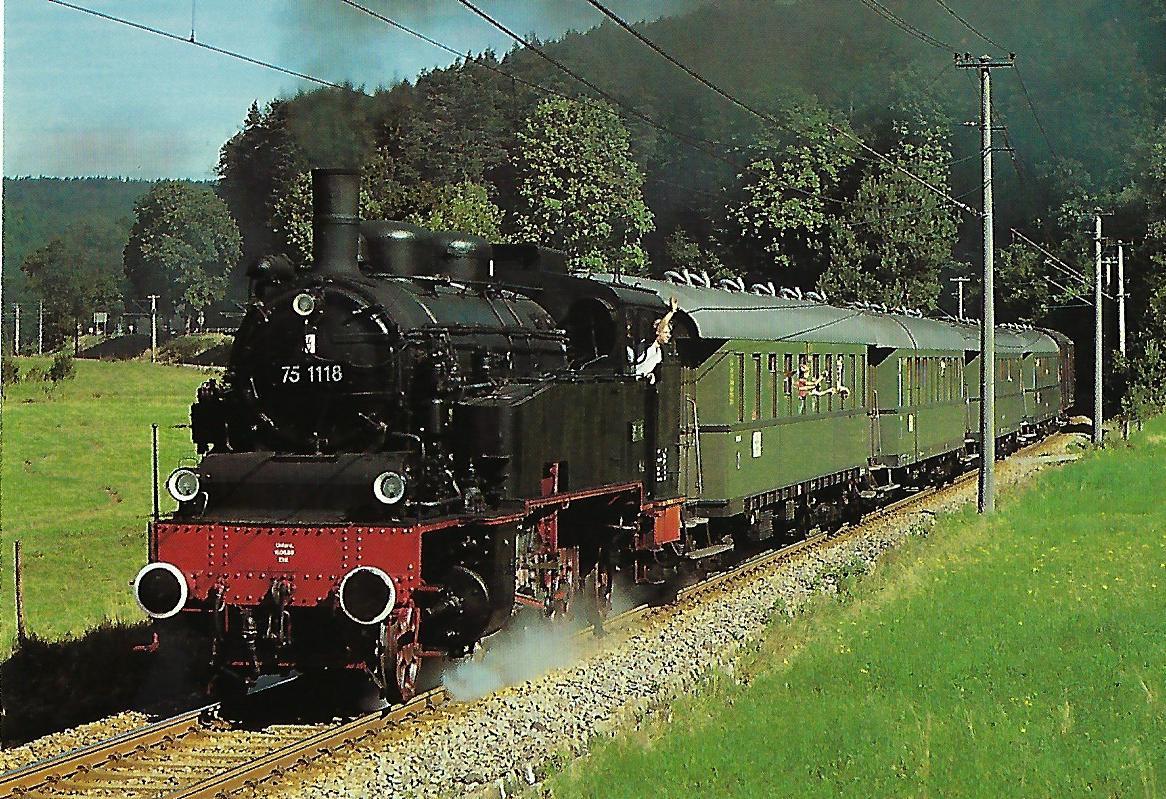 Ulmer Eisenbahnfreunde (UEF), Dampflokomotive 75 1118, 1'C1'h2, im August 1988 auf der Albtalbahn. Eisenbahn Bestell-Nr. 10521
